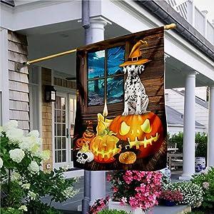 """Garden Flag Dalmatian Dog Halloween Flag, Rustic House Peace Flag Yard Decor House Decor Flag Seasonal Banners for Patio Lawn Outdoor 12x18"""""""