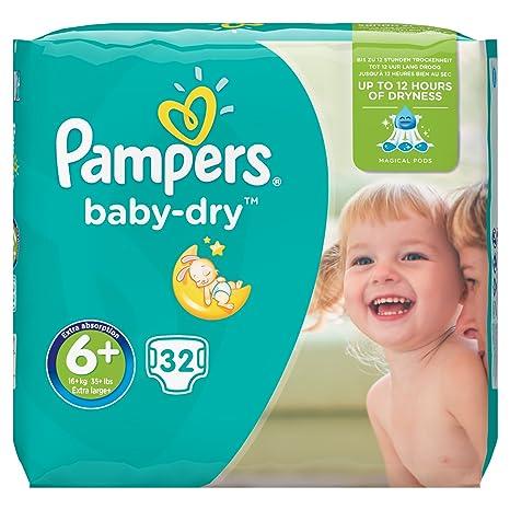 Pampers Baby Dry - Pañales para bebé 16+ kg, talla 6 (32 unidades