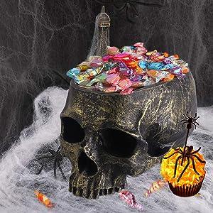 Halloween Skull Candy Holder Bowl Artificial Resin Skull Head Skulls Decor Indoor Outdoor Flower Pot Plant Holder Office Pen Holder Desktop Ornaments - Bronze
