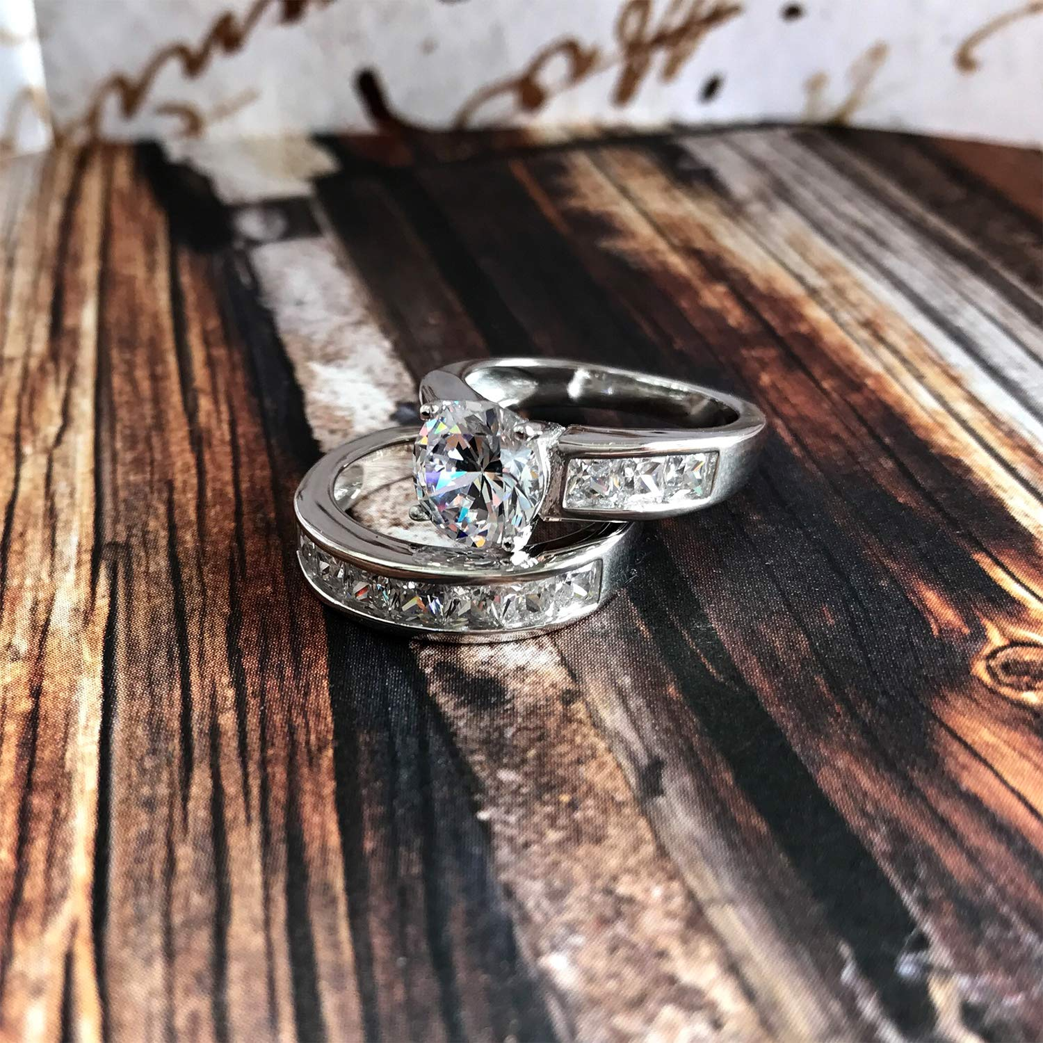 Sterling Silver Bridal Set Engagement Wedding Ring Bands with Round and Princess Cut Cubic Zirconia 7 by Bonndorf (Image #6)