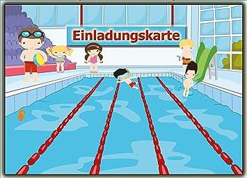 Einladungskarten Schwimmen Set Schwimmbad Kinder Geburtsatag Einladung Für  Jungen Mädchen Set Zur Poolparty Planschbecken Pool