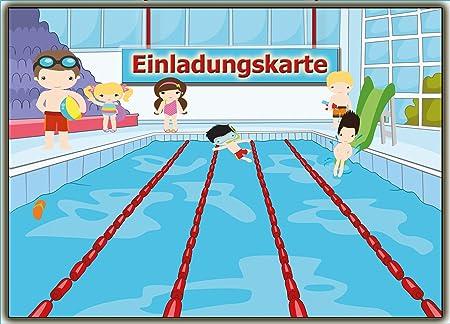Einladung Kindergeburtstag (8 Stück) Postkarten Schwimmbad Schwimmen:  Amazon.de: Bürobedarf U0026 Schreibwaren