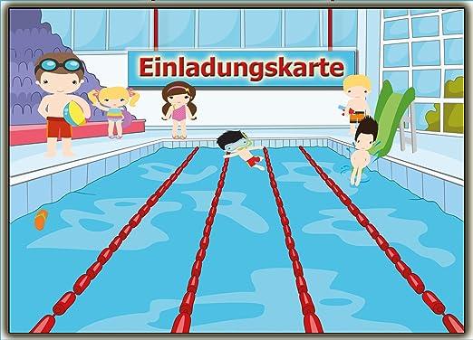 Einladungskarten Schwimmen Set Schwimmbad Kinder Geburtsatag Einladung Für  Jungen Mädchen Set Zur Poolparty Planschbecken Pool 11 Stück: Amazon.de: ...