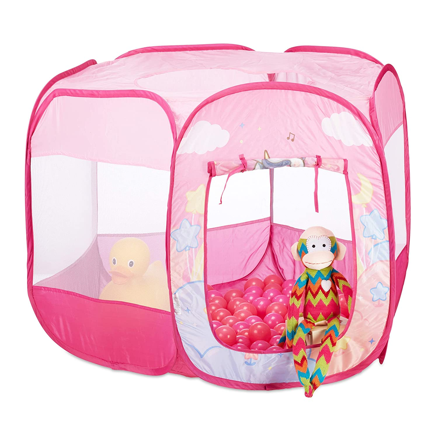 Relaxdays Unicorn Ball Pit, 100 Balls, Pink Pop Up Ball Pool, In- and Outdoor, Play Tent HWD 75 x 90 x 90 cm, Pink 10024760