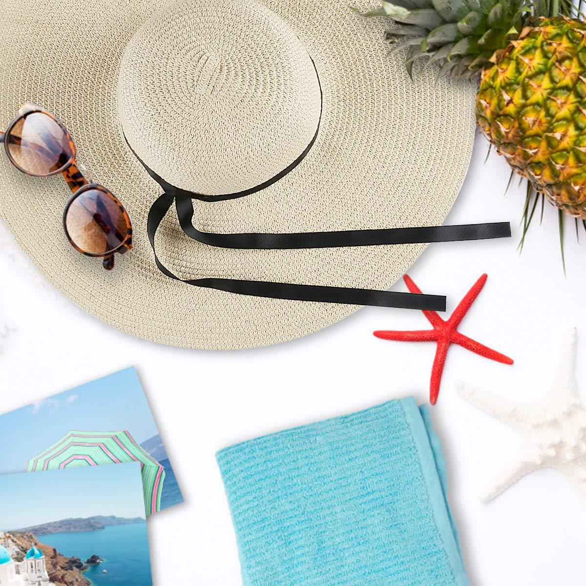Magicfun Femme Chapeau de Soleil Large Disquette Bord Chapeau UV Protection D/ét/é Pliable Chapeau de Paille Ray/é Beachwear Voyage