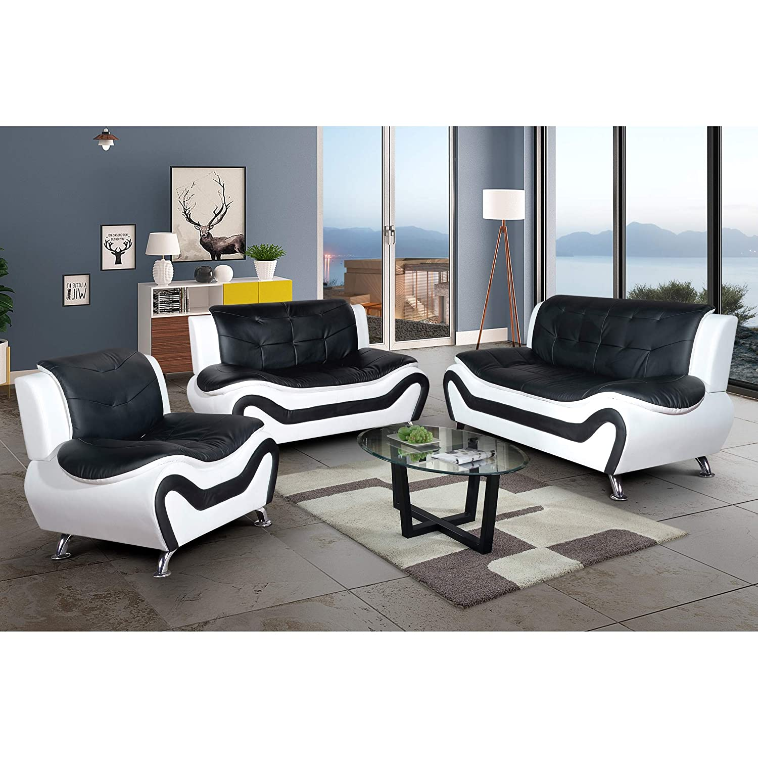 Amazon com aycp furniture modern sofa for living room comfortable 3 piece faux leather blk white set kitchen dining