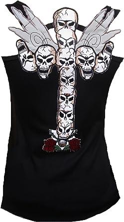 Rockabilly Punk Rock Bebé Mujer Negro Diseñador Tank Top Camisa Gótica Cruz Calavera Schwarz Tatuaje: Amazon.es: Ropa y accesorios