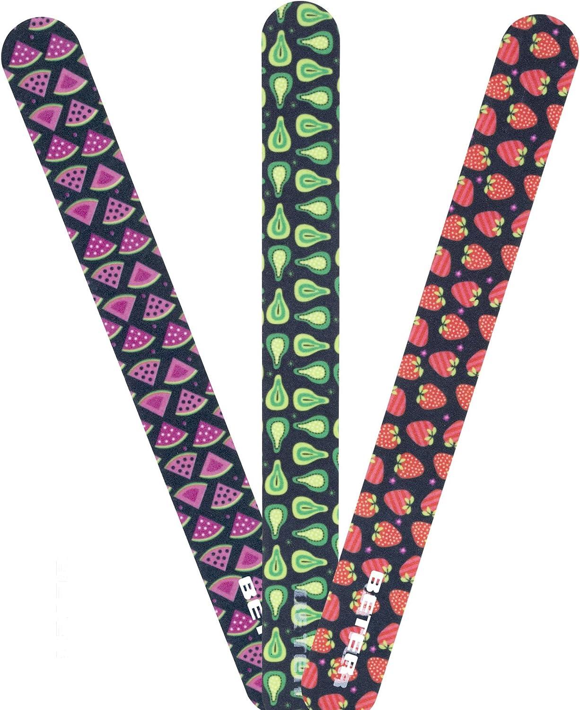 Beter 5998 - Pack de 3 limas de fibra de vidrio con decoración frutal: Amazon.es: Belleza