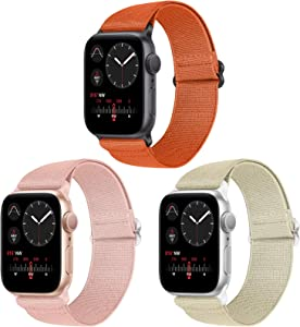 Vodtian Nylon Loop Elastic Watch Band Compatible with Apple Watch 38mm 40mm, Women Men Stretchy Adjustable Replacement Sport Straps for iWatch Series 6/5/4/3/2/1/SE (Pink+Camel+Orange, 38mm/40mm)