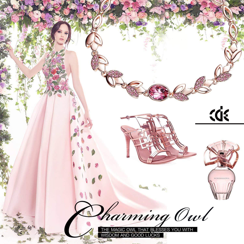 CDE 18K Rose Gold Plated Women Bracelet Bangle Swarovski Flower Rose Jewelry,Ideal Gifts for Valentine\'s Day (Rose Gold Bracelet)