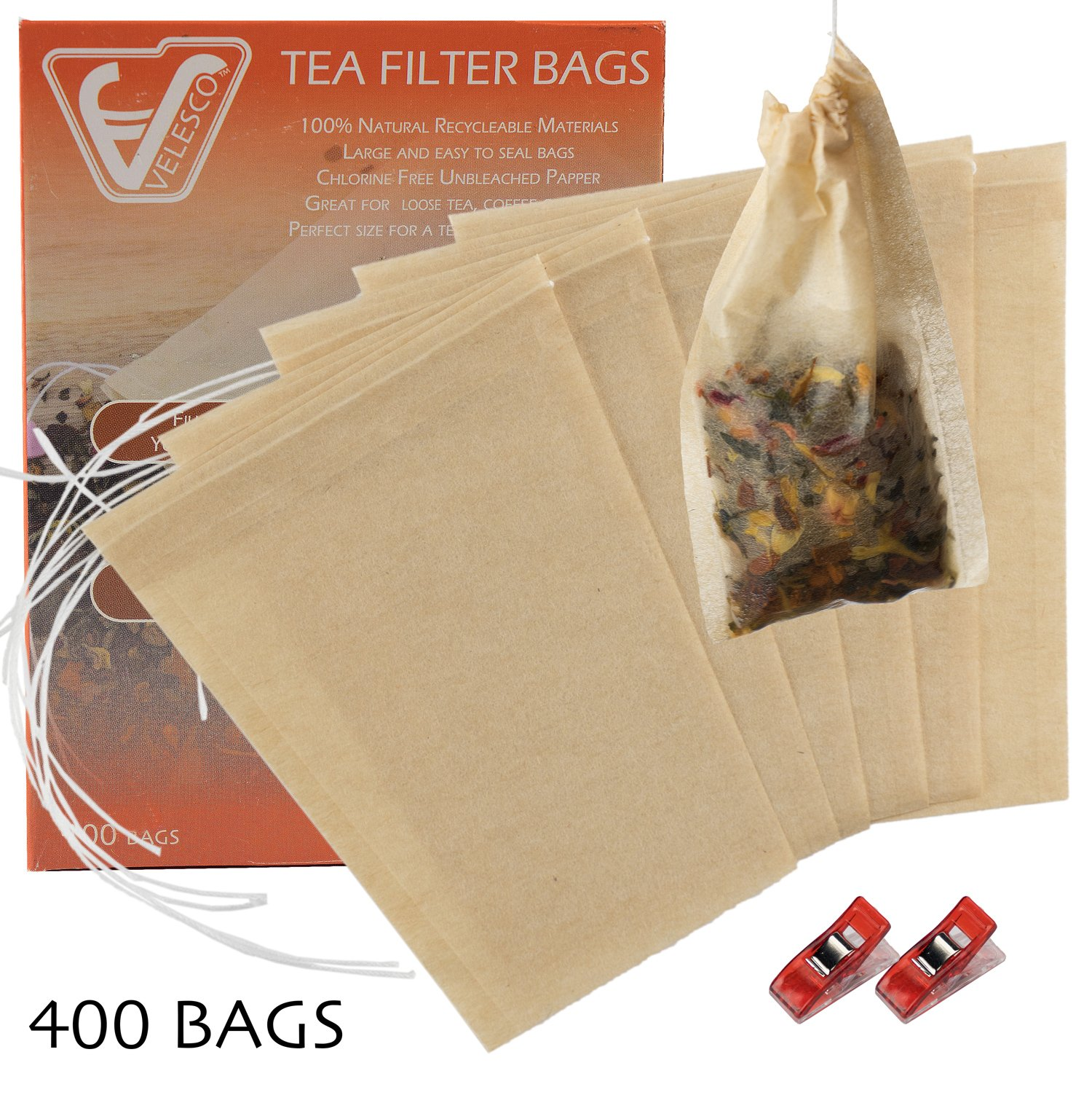 Velesco Tea Filter Bags Disposable Tea Infuser with Drawstring for Loose Leaf Tea with 100% Natural Sustainable Unbleached Paper 3 3/4 x 3'' 400pcs