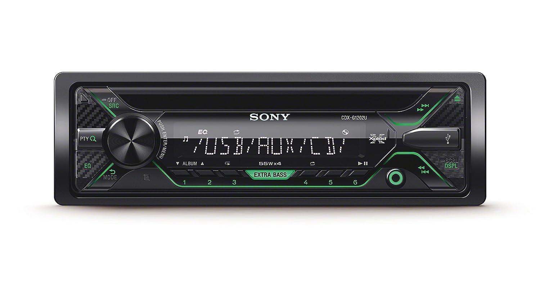 Sony CDXG1201U.EUR Autoradio, CD-Player, USB/AUX-Eingang, 4x 55 Watt, Extra Bass amber/schwarz