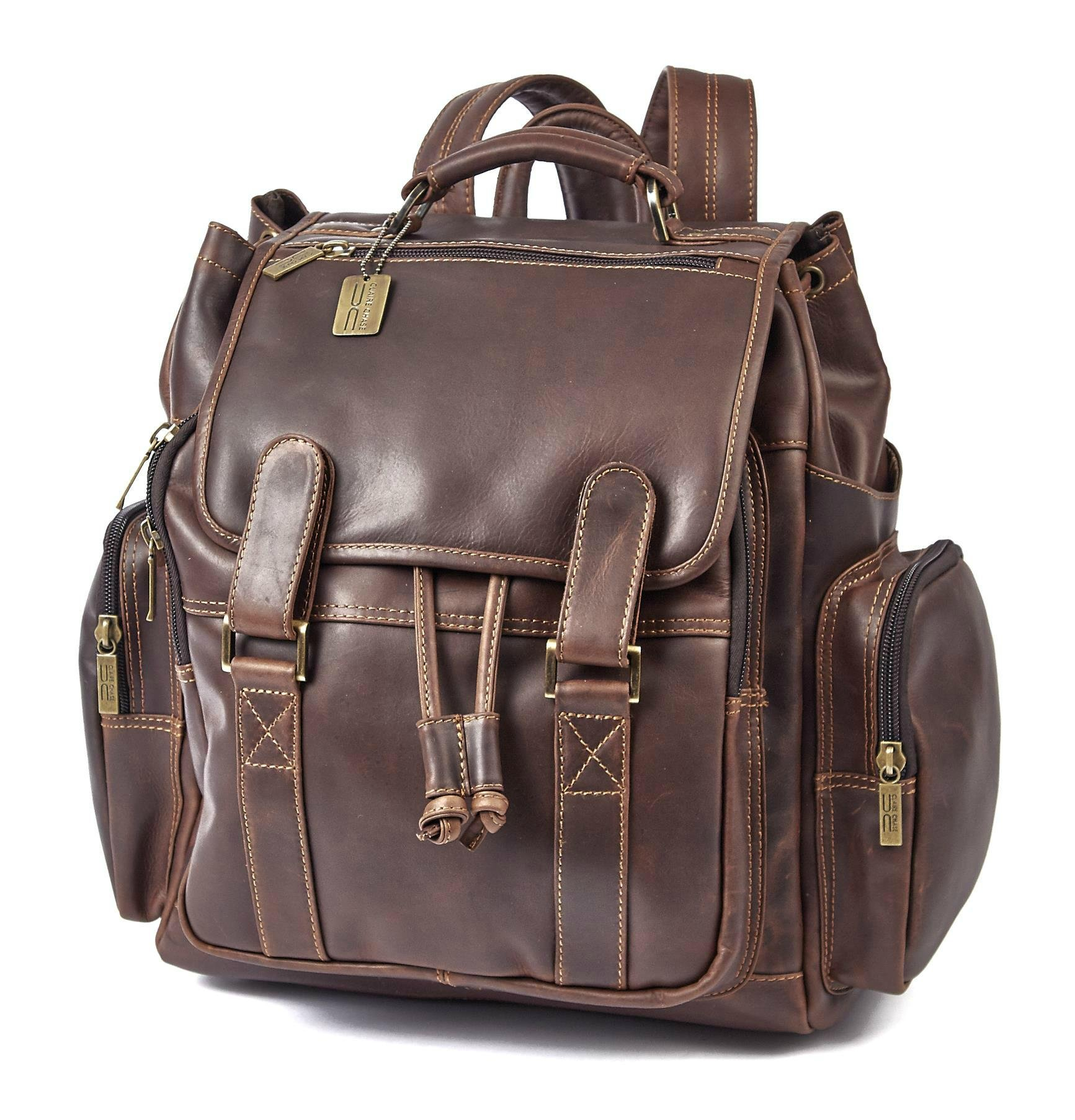 Claire Chase Legendary Jumbo Business Backpack, Dark Brown, One Size