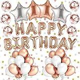 Alintor 48 Stück Rosegold Geburtstag Ballons - Geburtstag Dekoration Happy Birthday Banner Girlande Folienballons Konfetti Luftballons Party Deko Latexballons Heliumballon Geburtstagsdeko