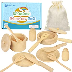 Timfuis Wooden Kitchen Toys for Kids, Gourmet Starter Accessories Play Set , Early Educational Development, Learning Gift for 3, 4, 5, 6 Year Old Kids, Toddlers, Boys & Girls