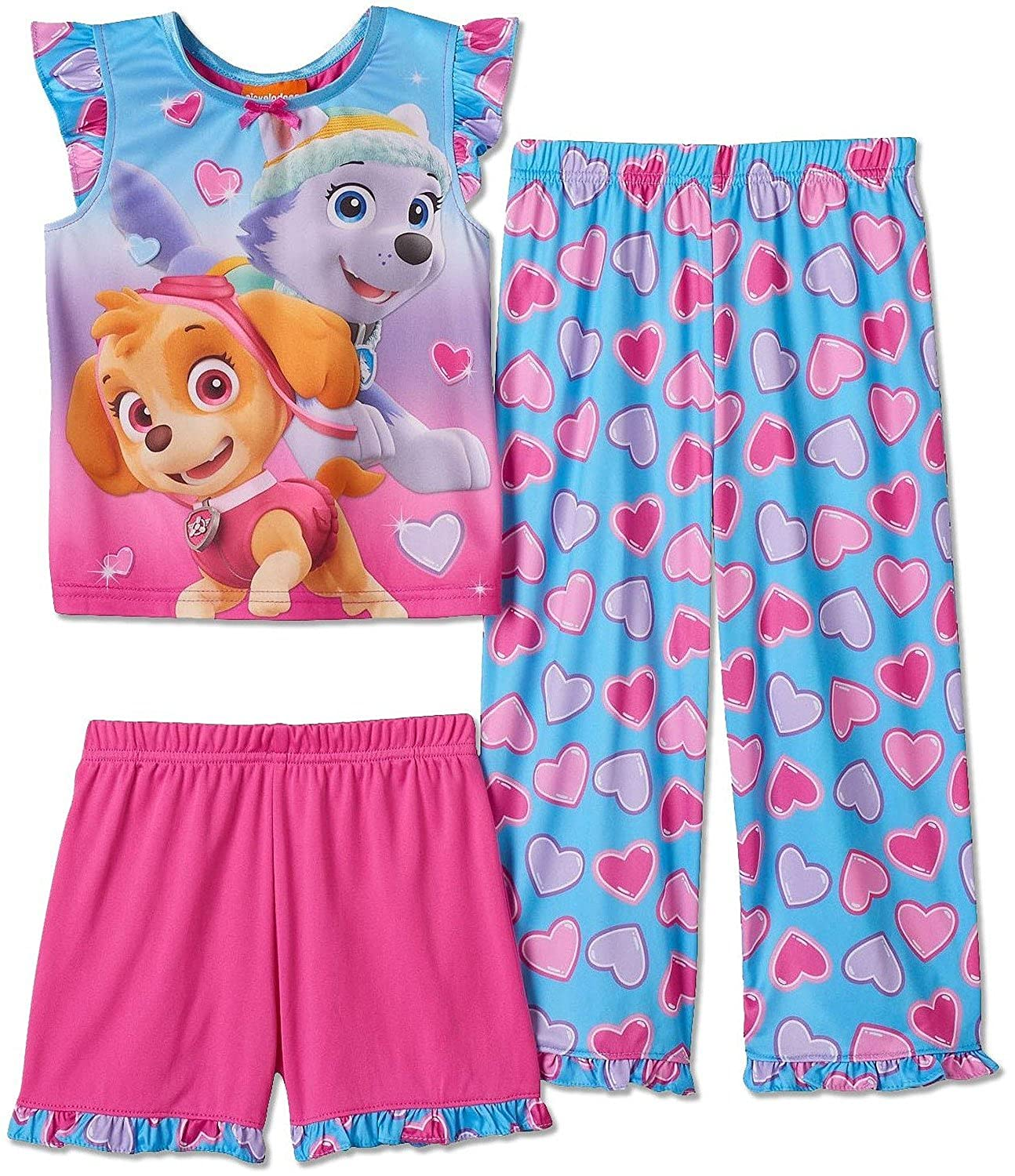 Paw Patrol Little Girls 3 Piece Pajama Set, Toddler Sizes 2T-4T Toddlers Size 2T