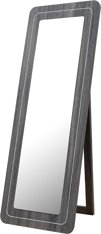 Furniture of America Contemporary Wood Freestanding Rectangular Mirror, Distressed Gray