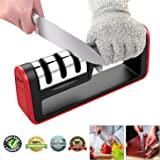 TangN Kitchen Knife Sharpener,3-Stage Knife Sharpening Tool Helps Repair, Restore and Polish Blades Chefs and Pocket Knives +Free Cut-Resistant Glove (Black and Red)