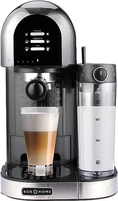 BOB Home LATTESSA - Cafetera con portafiltro, 15 bar, depósito de leche extraíble, programa de limpieza, especialidades de café preprogramadas: Amazon.es: Hogar