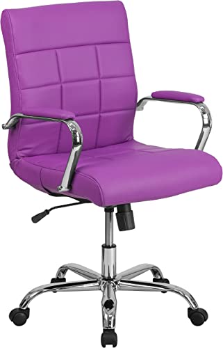 Flash Furniture Mid-Back Purple Vinyl Executive Swivel Office Chair with Chrome Base and Arms – GO-2240-PUR-GG