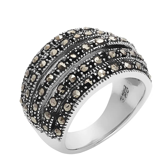 Silverly Women's .925 Sterling Silver Simulated Marcasite Oxidised Wide Curved Multi Layered Ring IZNvmBKuE