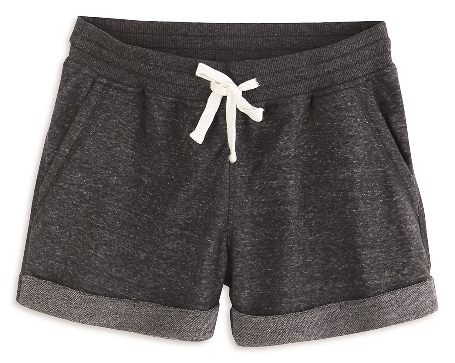 Charcoal Melange HARBETH Women's Soft Cotton Slim Fit Stretch Activewear Casual Lounge Shorts