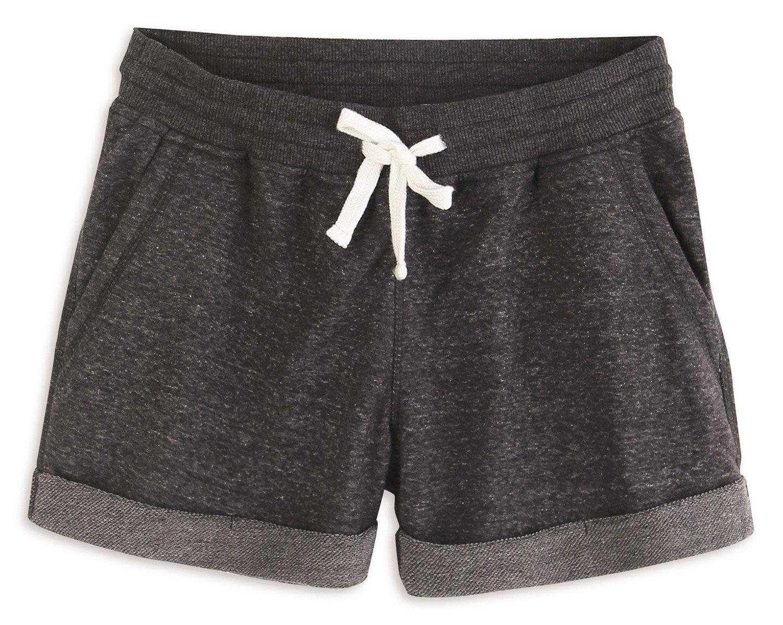 HARBETH Women's Juniors Cotton Slim Fit Stretch Activewear Casual Lounge Shorts Charcoal Melange S