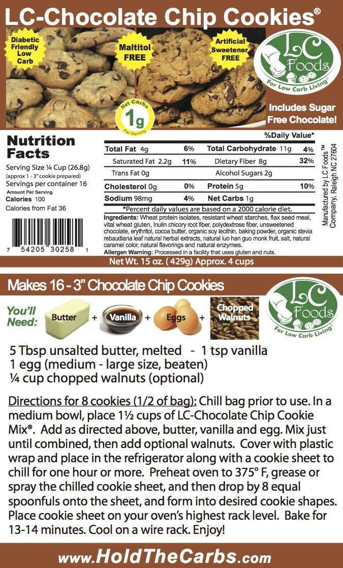 Low Carb Chocolate Chip Cookie Mix - LC Foods - All Natural - No Sugar - Diabetic Friendly - 15 oz