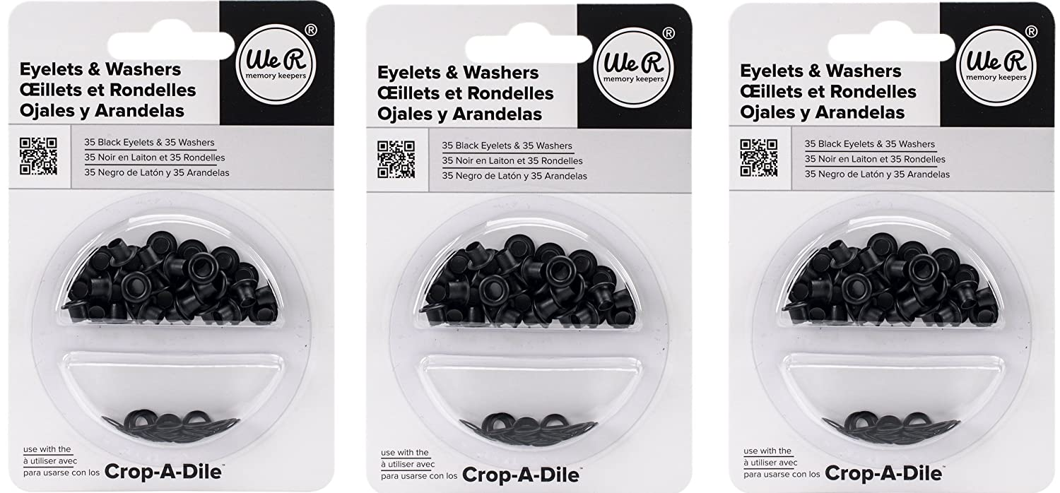 We R Memory Keepers Eyelet /& Washer-Black 70 Pieces