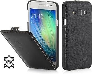 StilGut UltraSlim Case, Custodia in Pelle per Samsung Galaxy A3 (2015), Nero