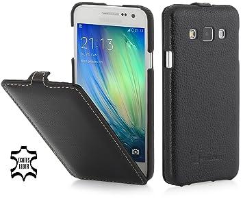 StilGut Housse pour Samsung Galaxy A3 en Cuir véritable et à Ouverture  Verticale, en Noir b088d4f343b2