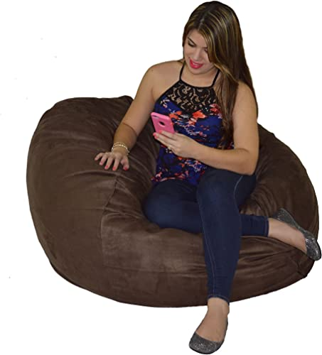 Cozy Sack Bean Bag Chair Large 4 Foot Foam Filled Bean Bag Large Bean Bag Chair, Protective Liner, Plush Micro Fiber Removable Cover – Chocolate