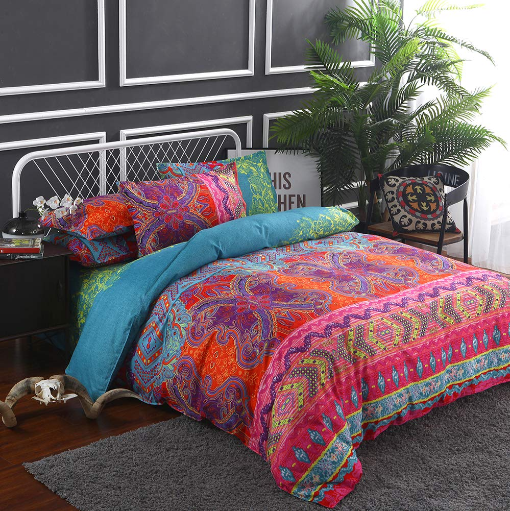 Omelas Bohemian Tribal Duvet Cover Set Queen Multi-Colored Exotic Printed 90x90, Southwestern Boho Vintage Ethnic Butterfly Striped