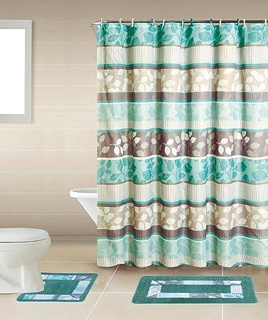 Zen Turquoise Blue Brown 15 Piece Bathroom Accessory Set 2 Bath Mats