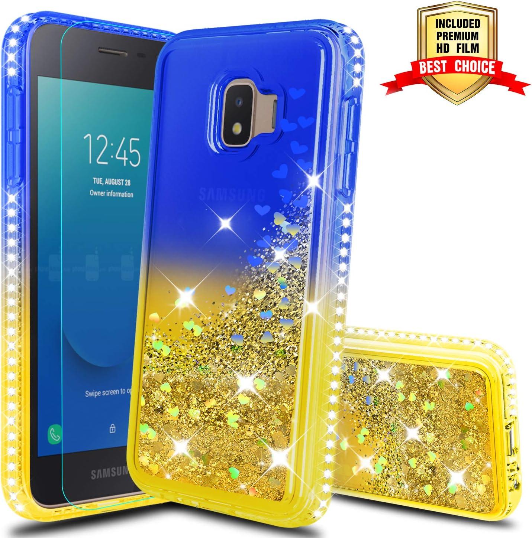 Galaxy J2 2019 Case,Galaxy J2 Pure/J2 Dash/J2 Core/J260/J2 Shine Phone Case with HD Screen Protector, Atump Glitter Liquid Diamond Cute TPU Silicone Cover Case for Samsung J2 Core Blue/Yellow