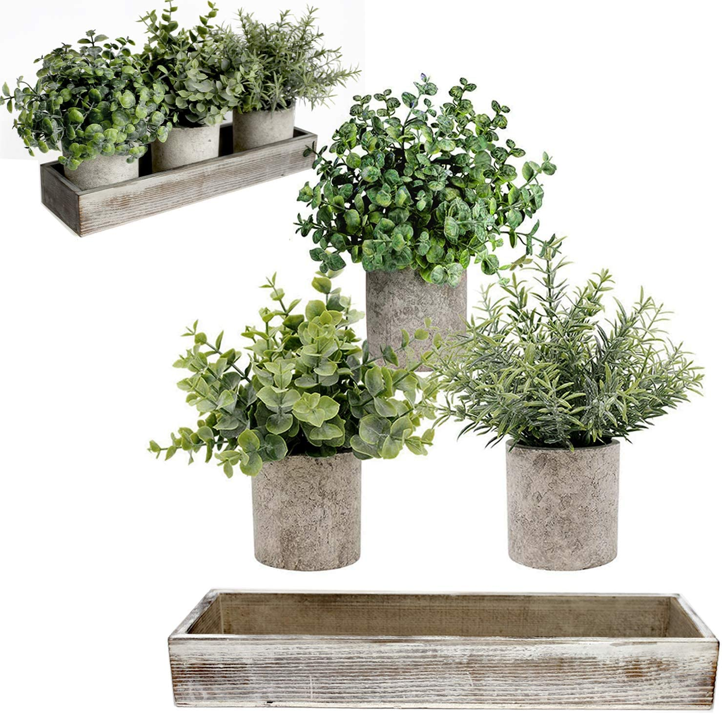 Mini Potted Artificial Plants - Artificial Eucalyptus Plant, Rosemary, Boxwood with Rustic Planter Box - Farmhouse plants for Home Decor - Small Fake Plants 3 Set - Indoor Bathroom Bedroom Office Desk