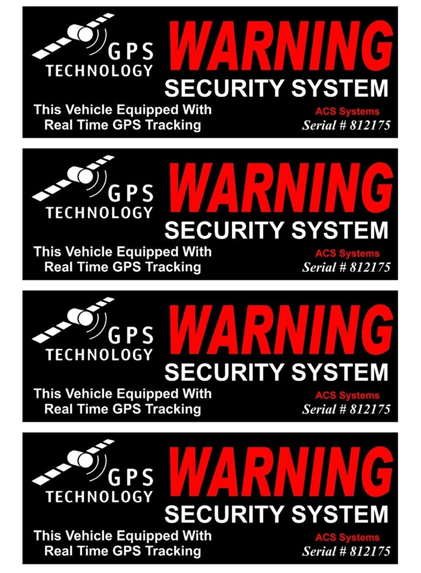 4 Set Acceptable Unique Warning GPS Tracking Security System Technology This Vehicle Equipped with Real Time Outside Adhesive Stickers Sign CCTV Premises Fence Property Yard Signs Size 4.5''x1.5''