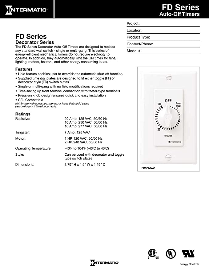 Intermatic FD12HHW 12-Hour Spring-Loaded In-Wall Timer Switch for Auto-Off on