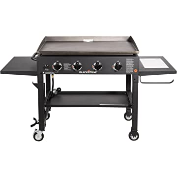 best Blackstone 36 inch Outdoor Flat Top Gas Grill Griddle Station - 4-burner - Propane Fueled - Restaurant Grade - Professional Quality - With NEW Accessory Side Shelf and Rear Grease Management System reviews