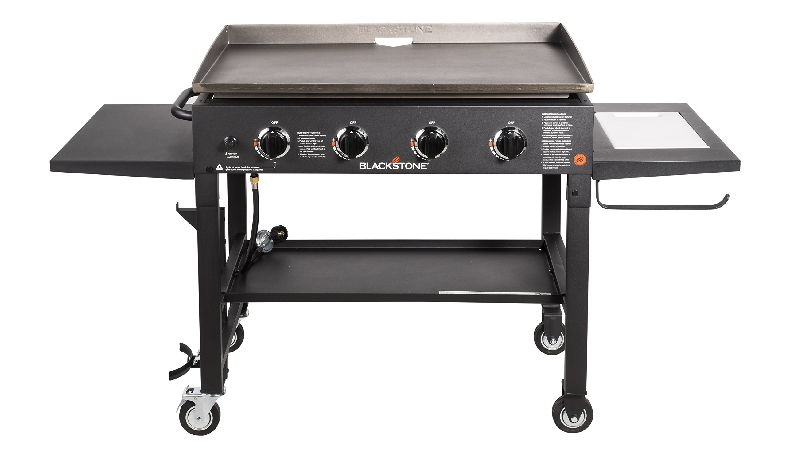 Blackstone 36 inch Outdoor Flat Top Gas Grill Griddle Station - 4-burner - Propane Fueled - Restaurant Grade - Professional Quality - With NEW Accessory Side Shelf and Rear Grease Management System by Blackstone