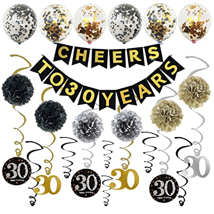 Sotogo 30th Birthday Decorations Party Supplies Gold Glittery Cheers To 30 Years Banner With Poms Sparkling 30 Hanging Swirl And Sequin Balloons Great