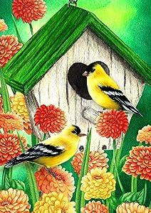 Toland Home Garden 1112305 Goldfinch Birdhouse 12.5 x 18 Inch Decorative, Spring Bird Finch Flower Garden Flag