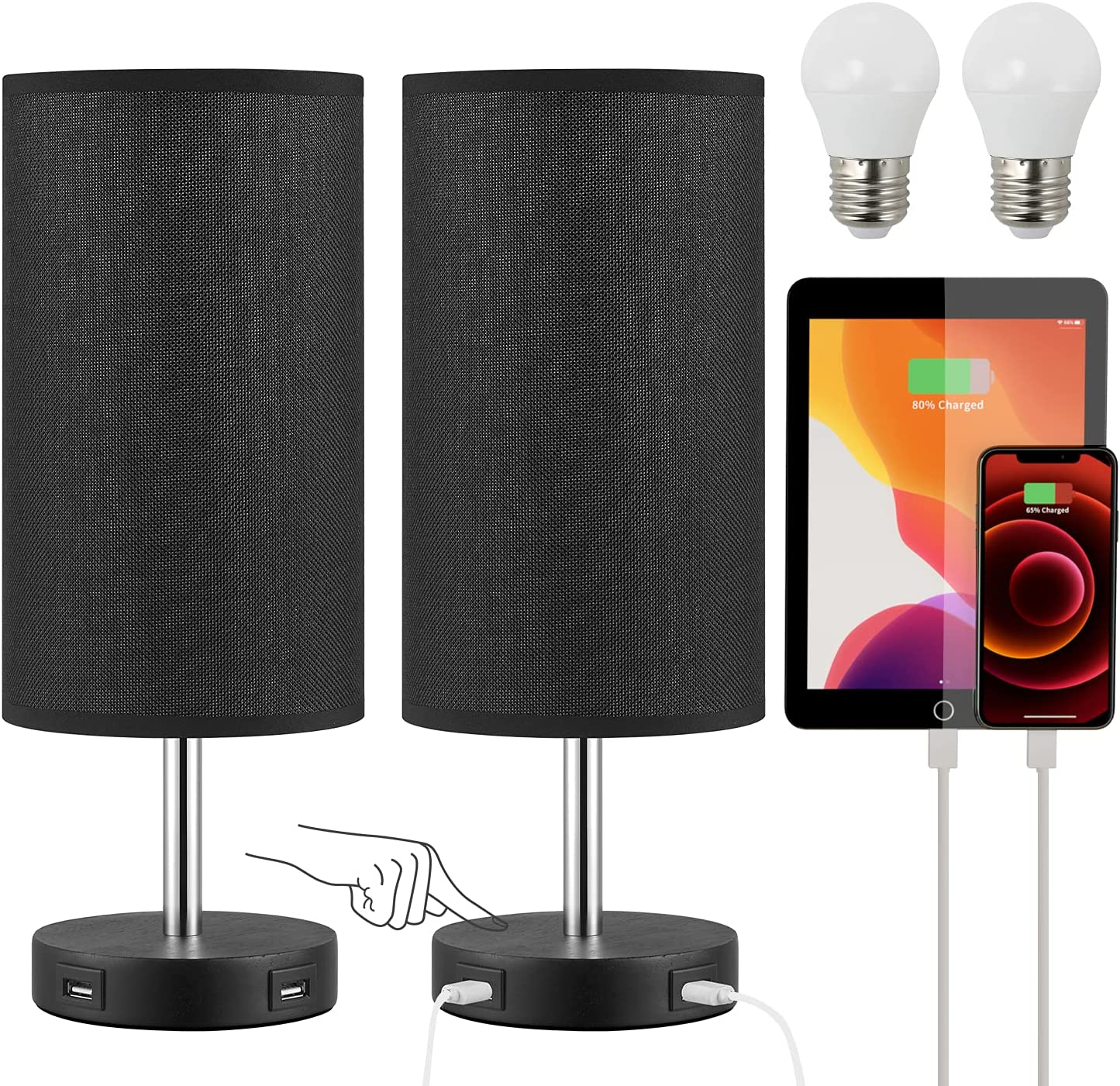 Black Touch Control USB Table Lamps for Bedrooms Seealle Stepless Dimmable Bedside Lamp Set of 2 with Daylight White Light Bulb, Minimalist Decor Modern Desk Lamps for Bedrooms Nightstand Living Rooms