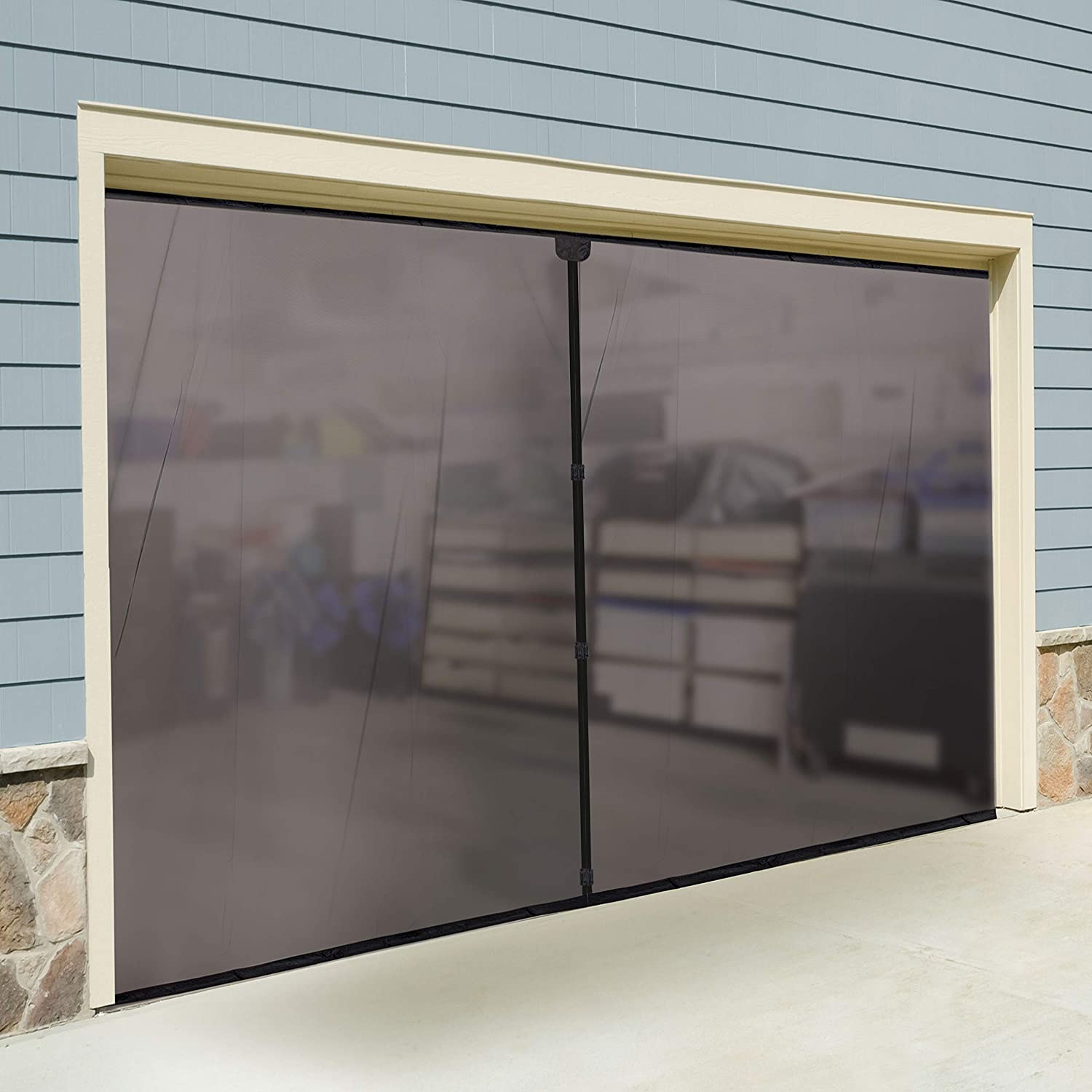 Jobar's JB4869 Double Garage Screen Door – Allows Air Circulation – Prevents Bugs and Insects from Entering – Nylon Mesh Material – Black