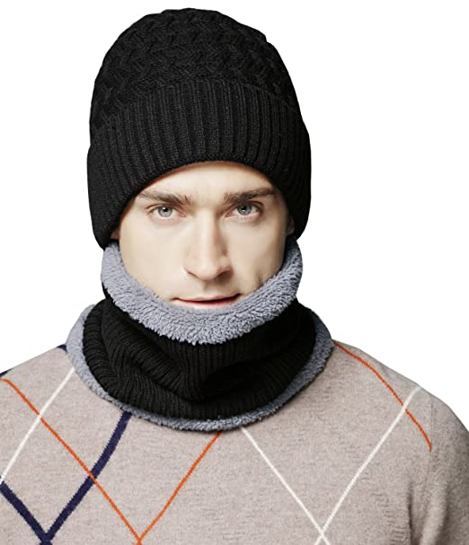 Mens Thick Warm Knitted Hat And Scarf Winter Fuzzy Cap Beanie Hat