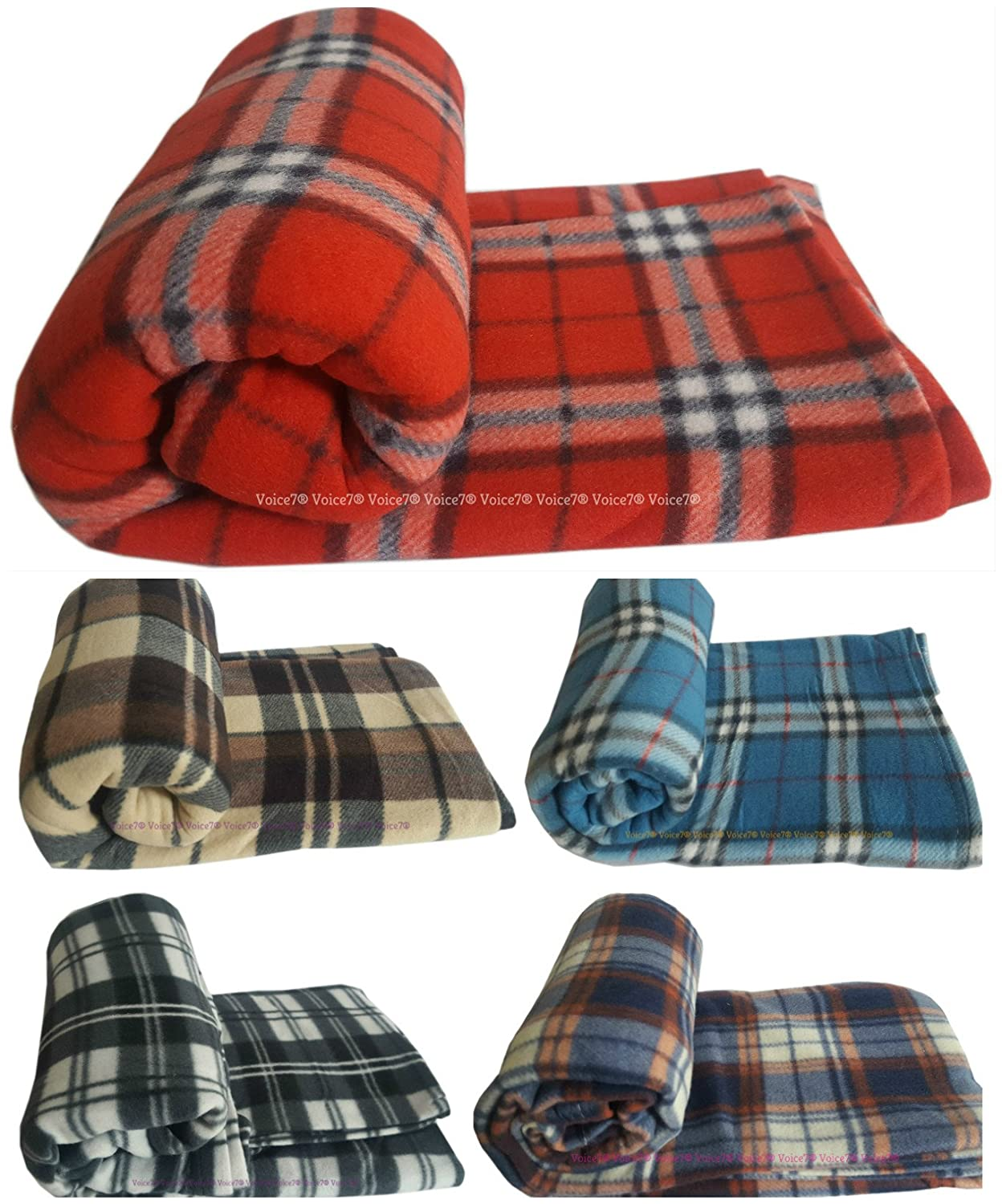 Voice7 Soft Double Size Large FLEECE Blanket/Throw ~ Luxury WARM Tartan Check Blankets 3 COLORS (LARGE: 150cm x 200cm, BROWN Check) TRTAN