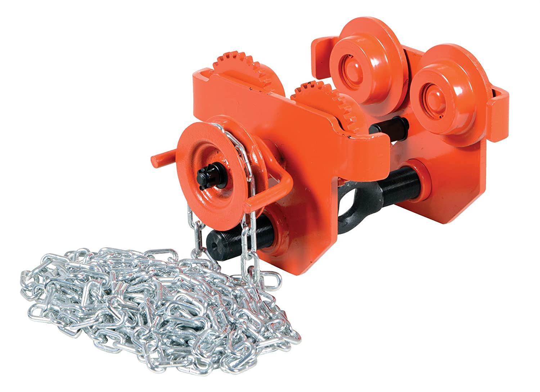 Vestil E-MT-2-C Steel Low Profile Eye Manual Chain Geared Trolley, 2,000-lb. Capacity, 2-1/2 - 5-1/2 I-Beam Flange, 5 Headroom by Vestil B003SI4WC8
