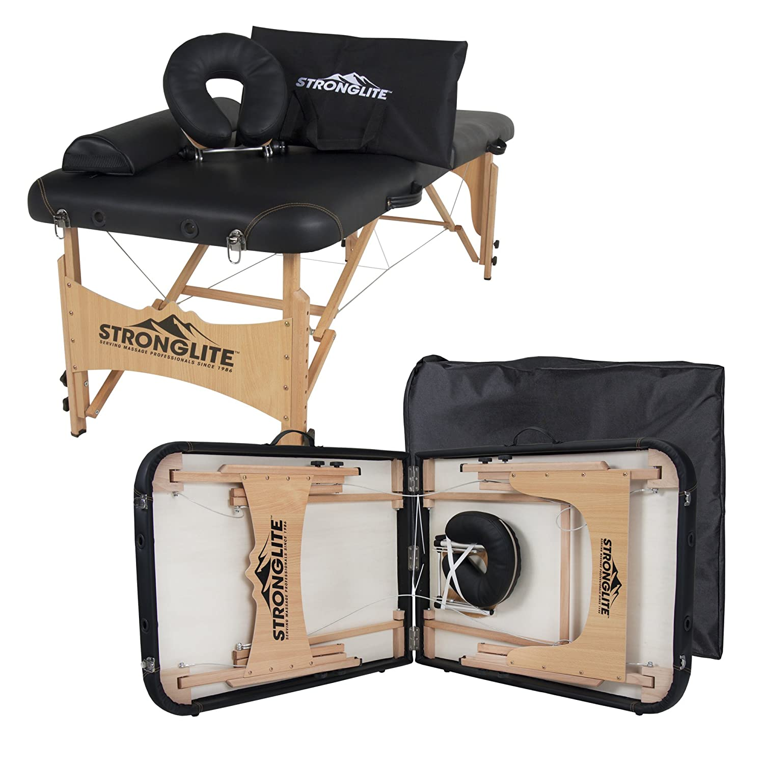 "STRONGLITE Portable Massage Table Olympia - Double Knobs, Package w/ Adjustable Face Cradle, Face Pillow, Half Round Bolster & Carry Case (28x73"")"