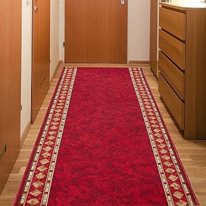 Passatoia Al Metro.Tapiso Agadir Tappeto Passatoia Al Metro Corridoio Cucina Da Ingresso Ufficio Vino Rosso Antiscivolo A Pelo Corto 80 X 300 Cm