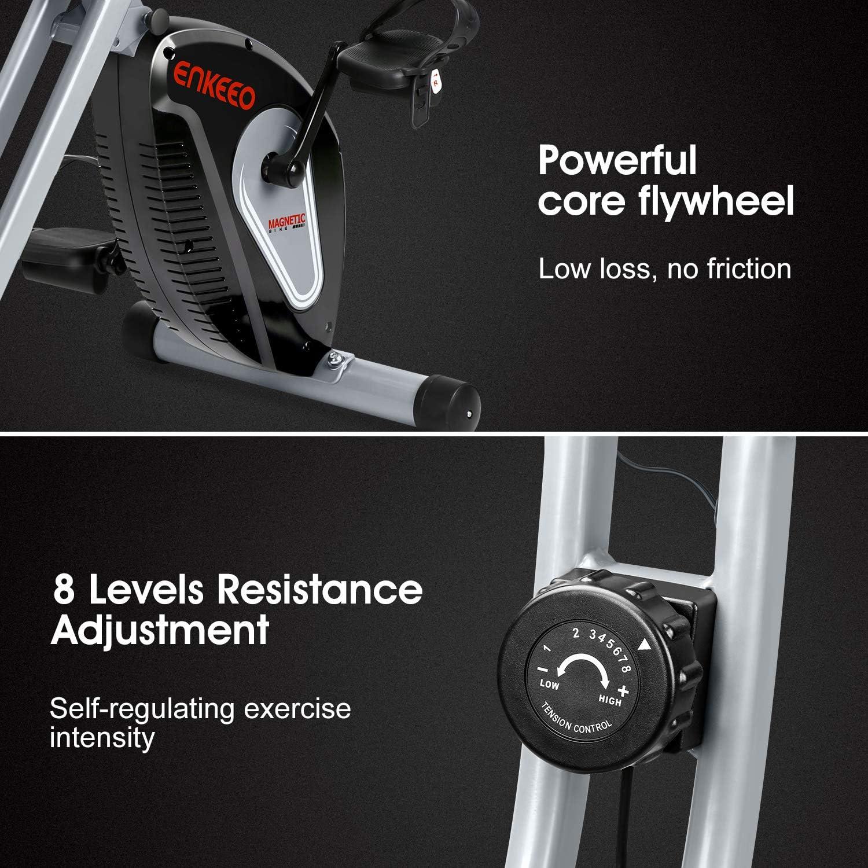 8 Widerstandsstufen Magnetischer Heimtrainer Indoor Cycle belastbar bis 120 kg ENKEEO Fahrradtrainer Klappbar Fitnessbike Fitnessfahrrad Profi X-Bike mit R/ücken- /& Armlehnen Schwarz